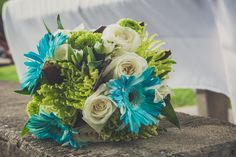 Blue Brown and Green wedding boquet. green or white daisies instead of blue