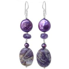NOVICA Pearl And Amethyst Dangle Earrings ($33) ❤ liked on Polyvore featuring jewelry, earrings, amethyst, dangle, white pearl earrings, long dangle earrings, novica, long earrings and novica earrings