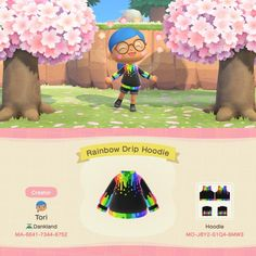 I made a hoodie version of my Rainbow Drip dress ^^ - ACQR Animal Crossing Fan Art, Animal Crossing Characters, Animal Crossing Memes, Animal Crossing Qr Codes Clothes, Animal Crossing Pocket Camp, Code Wallpaper, Wallpaper Iphone Cute, Aesthetic Iphone Wallpaper, Animals For Kids