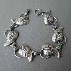 Danecraft Sterling Silver LEAF Link Vintage Bracelet