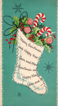 Vintage Christmas Card with candy canes,