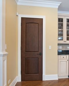 wood doors with white trim | Wood door with white trim :) for the pantry door. | Home Decor/Colors