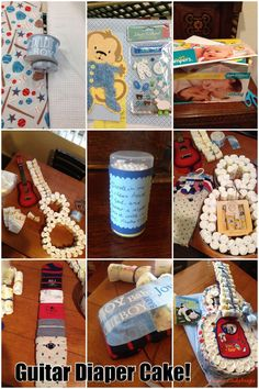 How-to: Make a Guitar Diaper Cake! Welcome baby adoable guitar diaper cake! Such an awesome baby shower gift and so fun to make! I made this using two receiving blankets, the diaper box, and supplies as shown. ★ ★ ★ ★ ★ @Raquel Jorgenson