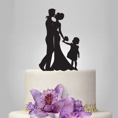Funny wedding cake topper, family wedding cake topper, Mr&Mrs cake topper, groom and bride with little girl cake topper, by walldecal76 on Etsy https://www.etsy.com/listing/207232642/funny-wedding-cake-topper-family-wedding