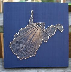West Virginia Love // Reclaimed Wood Nail and String by cwrought, $110.00