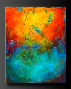 "Abstract contemporary painting, red, orange, yellow, aqua, turquoise.  Highly textured.  ""Reaction"""