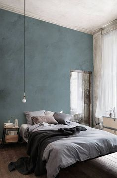 colour-of-the-year-2017-denim-drift-blue #bedroom #colour #wall