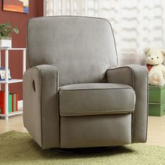 Colton Gray Fabric Modern Nursery Swivel Glider Recliner Chair | Overstock.com Shopping - The Best Deals on Recliners