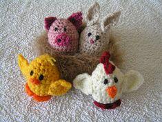 Ravelry: Creme Egg Creatures pattern by creativecat Crochet Pig, Crochet Cozy, Easter Crochet, Crochet For Kids, Crochet Crafts, Yarn Crafts, Crochet Projects, Crocheted Hats, Free Crochet