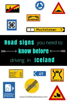 Road Signs You Need to Know Before Driving in Iceland + FREE Guide Book Planning a road trip in Iceland and wondering what the signs mean? Iceland Adventures, Sign Meaning, Iceland Road Trip, Iceland Roads, Voyage Europe, To Infinity And Beyond, Future Travel, Guide Book, Fire And Ice