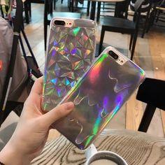 3d diamante rainbow case para iphone 5 5s 6 de fusão a laser s plus holograma iridescent coque triângulo pastel caso para iphone 7 7 mais