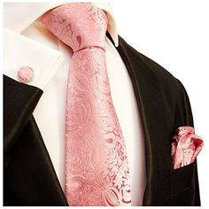 Extra Long Necktie Set by Paul Malone 100% Silk , Pink Paisley  http://www.yourneckties.com/extra-long-necktie-set-by-paul-malone-100-silk-pink-paisley-4/