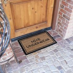 Nice Underwear Funny Doormat is one our most popular rude doormats. These humorous welcome mats appeal to the those with a manly sense of humor. While some might call these rude doormats, others might