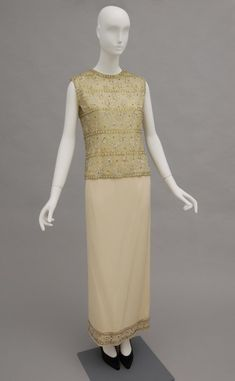 Evening Ensemble: Bodice and Under Dress, Off-white silk chiffon, green metallic thread, green rhinestones, plastic white beads, iridescent plastic sequins and beads; pale nude silk/synthetic rib weave; off-white silk/synthetic satin; off-white silk/synthetic crepe, 1970's