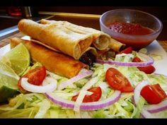 Receta de Flautas Surtidas (Pollo, Rajas con Queso, Papas y Frijoles con Chorizo)