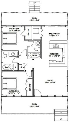 Small House Floor Plans, Cottage Floor Plans, Cabin Floor Plans, House Plans One Story, Ranch House Plans, Cottage House Plans, Modern House Plans, House 2, Small House Plans Under 1000 Sq Ft