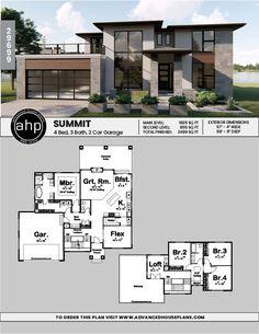 1 5 Story Modern Prairie House Plan Summit 1 5 S Modern House Floor Plans, Sims House Plans, Contemporary House Plans, Dream House Plans, Modern House Design, House Plan Two Story, Modern House Exteriors, Home Floor Plans, Sims 4 Modern House