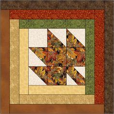 Maple Leaf Log Cabin Quilt Block Pattern Download