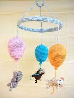 Crib Mobile - Crochet Mobile - Balloon Mobile - Baby Mobile - Nursery Decoration - Nursery Furniture - Baby Shower - Newborn Gift