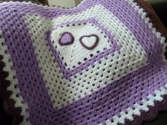Inspiration--Ravelry: debbieredman's Purple hearts granny square blanket