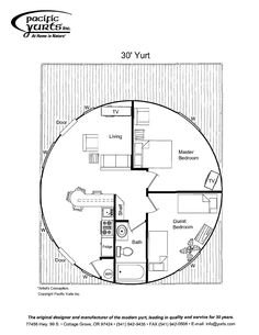yurt floor plan - add loft over two bedrooms. Round House Plans, House Floor Plans, Yurt Home, Yurt Living, Silo House, Round Building, Dome House, Geodesic Dome, Earthship