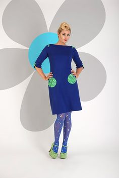 Buy your new dress on newdress. Blue Tights, Colored Tights, Pantyhose Outfits, King Louie, Retro Dress, Danish Design, Bunt, Hosiery, New Dress