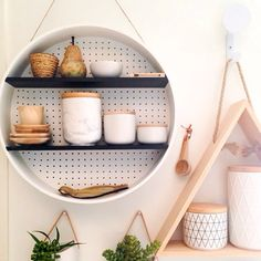 Beautiful kmart product styling, round pegboard shelf, pouch planters, marble canisters ....  by Raw styling