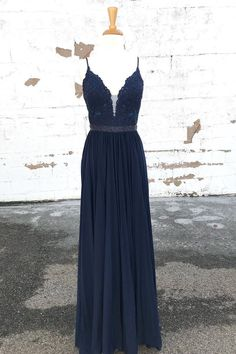 Gorgeous A-line Straps Navy Blue Long Prom Dress