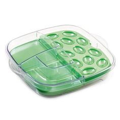 """#2292 Cool & Serve Square Tray - $44.50   Veggies, fruits, deviled eggs and more stay cool 4-6 hours, even outdoors! Mix and match the two removable trays and cooling inserts for a variety of serving combinations.  Dual-sided inserts are filled with an exclusive cooling gel, and feature one flat side and another with egg wells. The clear lid and base snap together for easy transport and storage. 12"""" x 12"""". Dishwasher-safe.   www.pamperedchef.biz/sharikoss"""