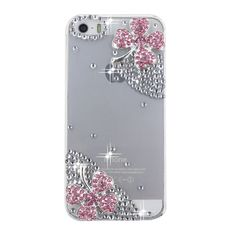 iPod Touch 6, 5, iPhone SE, 5/5S, 5C - Crystal 4-Leaf Clover on Clear Case With Stylus & Ear Jack Charm