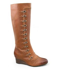 Love this Cognac Simone Leather Boot - Women by Joyfolie on #zulily! #zulilyfinds