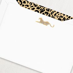 Engraved Leopard Correspondence Card: Be it in the Serengeti or on these engraved cards, the elegant leopard is proudly on display, reminding us of the beauty of the animal kingdom. Each card is paired with our Leopard Print envelope liner for added admiration.