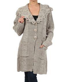 Beige Drop-Collar Wool-Blend Duster