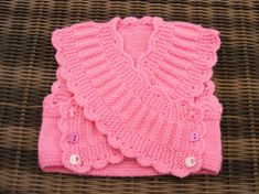 """This little cross over top would be perfect over jeans or trousers. """"Isabella crossover Top knitting Pattern by - Craftsy"""", """" Short rows ~~ Pink Baby Ve Knitting For Kids, Baby Knitting Patterns, Crochet For Kids, Baby Patterns, Free Knitting, Crochet Patterns, Crochet Afgans, Knit Crochet, Crochet Hats"""