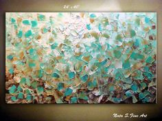 "In the running for living room abstract painting:  Original Abstract Heavy Texture Painting.Modern Metallic Artwork.Palette Knife,Impasto.Turquoise,Gold,White,Beige,Brown 24""x40"""