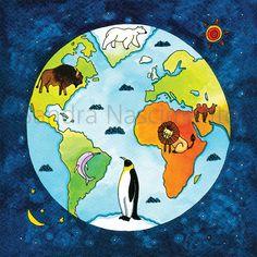 Beijos de Algodão: Planisfério e animais do mundo...