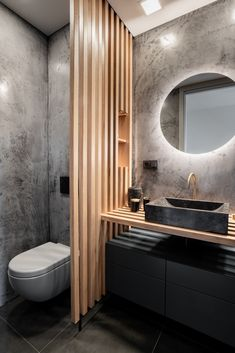 This interior can be found in a newly-built block of flats with a layout fixed from the start. Modern Bathroom Design, Bathroom Interior Design, Modern House Design, Guest Toilet, Bathroom Design Inspiration, Bathroom Renovations, Small Bathroom, Architecture Design, Small Apartment Bathrooms