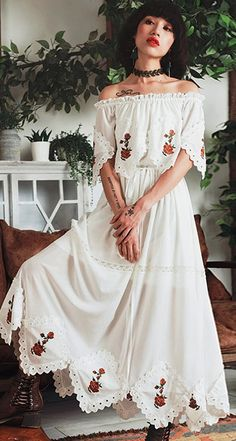Aporia.As Embroidery White Boho Dress #bohointernal