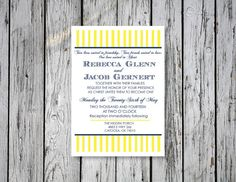 Striped Wedding Invitation / DIY Printing by RejoiceGraphics