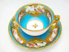 Porcelain cup and saucer set by Old Nippon,  1900s