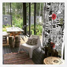 Marimekko Lintukoto curtains at the outside terrace