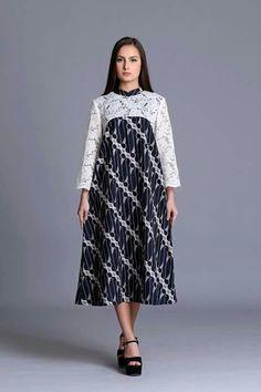 Batik Model Dress Batik, Batik Dress, Elegant Dresses, Cute Dresses, Vintage Dresses, Dress Batik Kombinasi, Hijab Dress Party, Blouse Batik, Batik Fashion