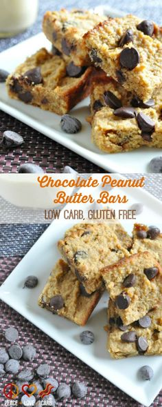 Chocolate Peanut Butter Bars - Low Carb, Gluten Free | Peace Love and Low Carb  via @PeaceLoveLoCarb