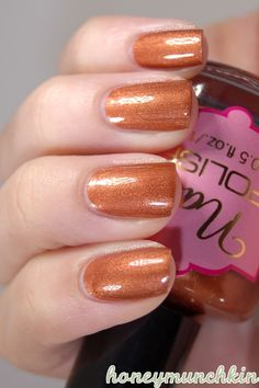 H - Autumn Sunset - Perfect bronze color for fall! Orange Nail Polish, Metallic Nail Polish, Claws, Pretty Nails, Swatch, Diva, October, Autumn, Sunset