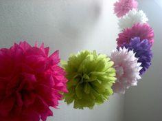 Spring decor paper garlands, diy paper pom pom garland, wedding receptions, tissu paper, birthday parties, tissue paper flowers, paper pom poms, birthday party decorations, tea party decorations diy