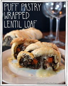 Perfect main dish for a vegan Thanksgiving or Christmas. Lentils, toasted nuts, sautéed winter veggies all wrapped up in a FLAKY glorious puff pastry. Decadent, hearty, rich, flaky, did I mention flaky? Drizzled in Quick Vegan Onion Gravy or your favourite warmed BBQ sauce.