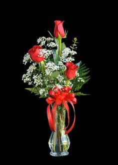 Triple Red Rose Bud Vase