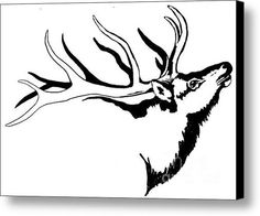 Tribal Line Design Elk Original Canvas Print / Canvas Art By Dale Jackson Elk Tattoo, Deer Skull Tattoos, Animal Tattoos, Wood Burning Stencils, Wood Burning Art, Elk Drawing, Elk Silhouette, Deer Stencil, Tribal Wolf Tattoo