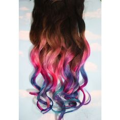 Pastel Tie Dye Tip Extensions, Dark Brown/Black, 22 inches long, Clip In Hair Extensions, Hippie Hair, Dip Dyed Tips ($57) found on Polyvore