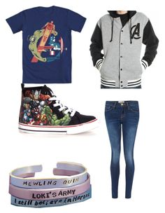 """avengers!"" by fangirlingisnormal ❤ liked on Polyvore featuring Frame Denim"